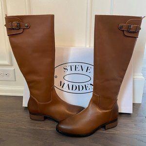 Steve Madden Women's Cognac Leather Edie Mid Boot